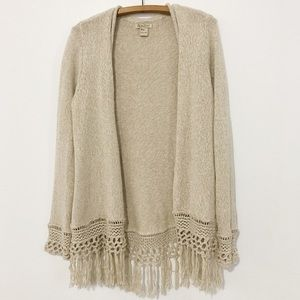 Lucky Brand Cream Fringe Sweater Cardigan Medium